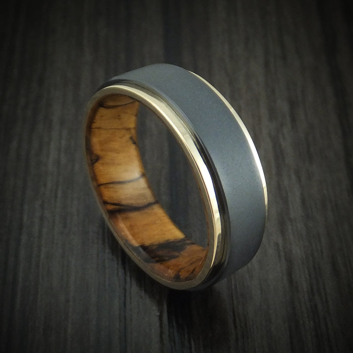 Black Zirconium Ring with 14K Gold Edges and Wood Sleeve Custom Made