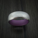 Damascus Steel and Wild Purple Cerakote Ring Custom Made Band