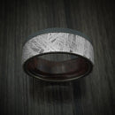 Black Zirconium and Meteorite Ring with Hardwood Sleeve Custom Made Band
