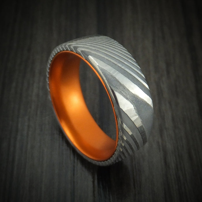 Damascus Steel Ring With Anodized Sleeve Custom Made