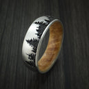 Titanium Ring with Tree Design and Hardwood Sleeve Custom Made Band