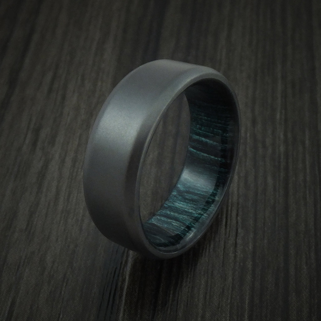 Black Zirconium and Indigo Wood Hard Wood Sleeve Ring Custom Made