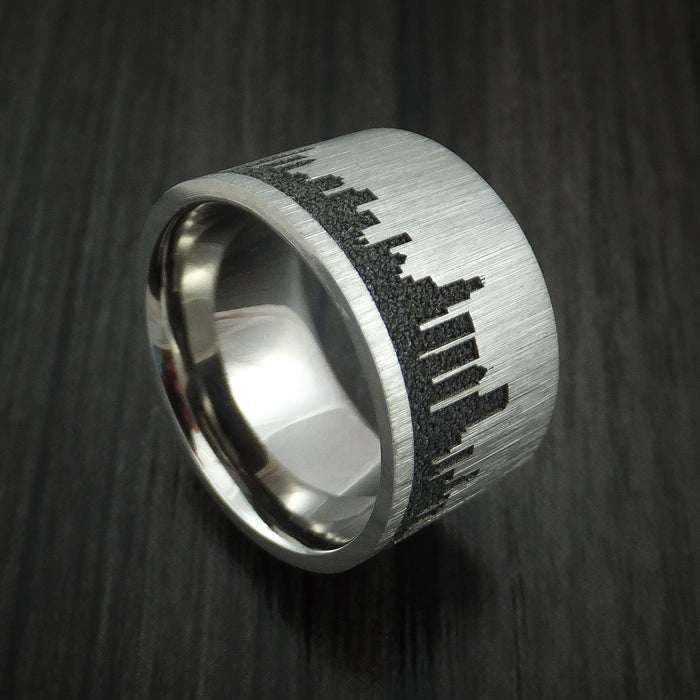 Titanium Ring with Chicago Skyline Cityscape Custom Made Band
