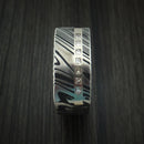 Kuro Damascus Steel Square Ring with 14K White Gold and Diamonds Custom Made Band