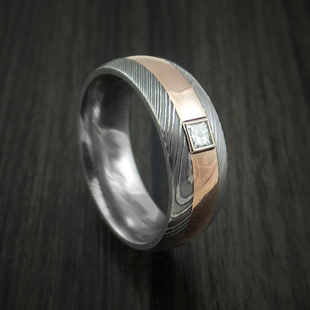 Damascus Steel And Rose Gold Band With Diamond Custom Made