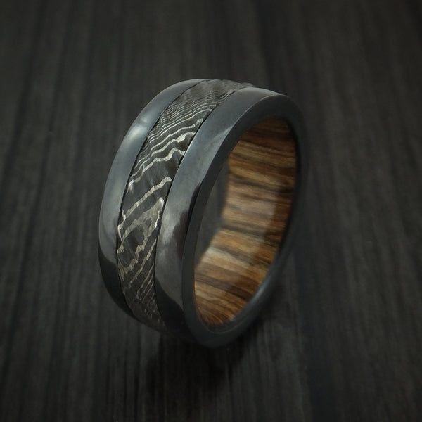 Black Zirconium And Damascus Steel Ring With Tree Bark Carved Finish A Revolution Jewelry Designs