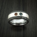 Damascus Steel with Silver Inlay and Alexandrite and Citrine Custom Made Band