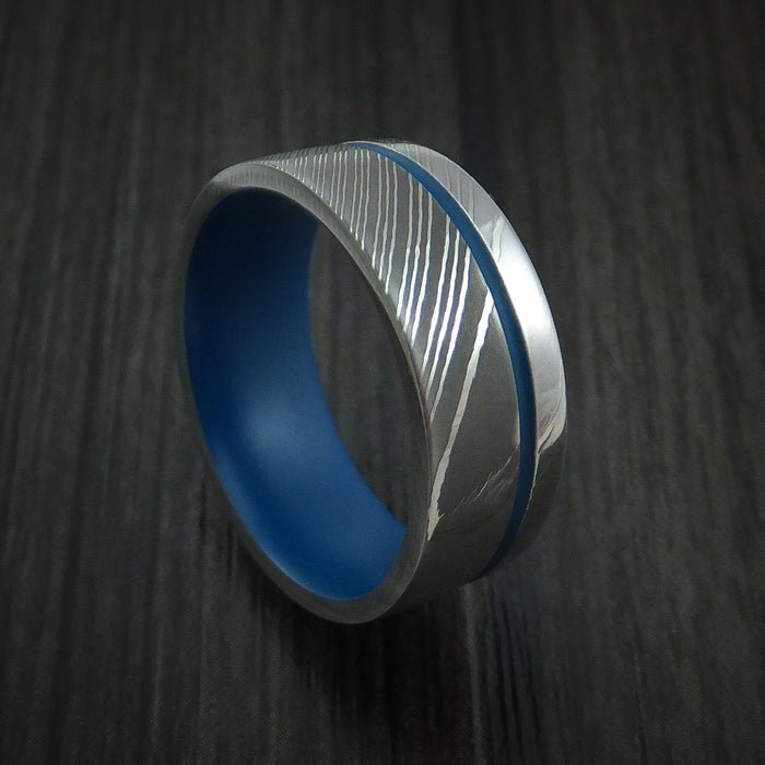 Damascus Steel and Cerakote Ring Custom Made Band