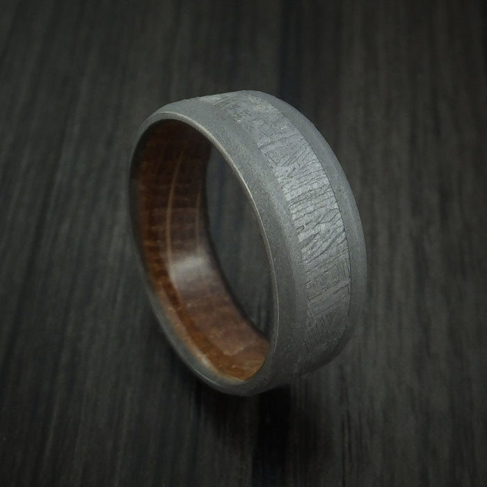 Titanium and Gibeon Meteorite Band with Hardwood Sleeve Custom Made Band