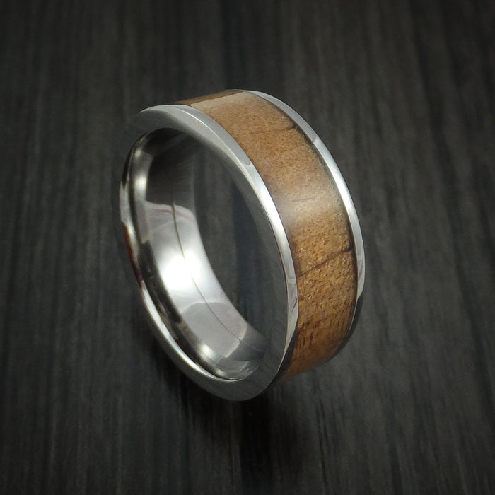 Titanium Band with Kauri Wood Inlay Custom Made Ring