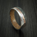Damascus Steel Ring with Diagonal Rose Gold Mokume Shakudo Inlay and Jack Daniels Wood Sleeve Custom Made