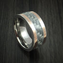 Titanium and Carbon Fiber Ring with 14k Rose Gold Inlays Custom Made