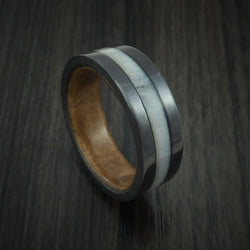 Black Zirconium and Antler Ring with Canxan Burl Sleeve Custom Made Band