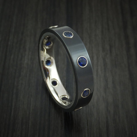 Black Zirconium Ring with White Gold and Sapphires Custom Made