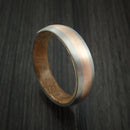 Titanium Ring with 14k Rose Gold Inlay and Whiskey Barrel Wood Sleeve Made to Any Sizing and Finish