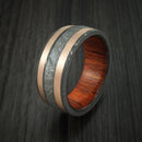 Damascus Steel and Gibeon Meteorite Ring with Copper Inlays and Wood Sleeve Custom Made Band