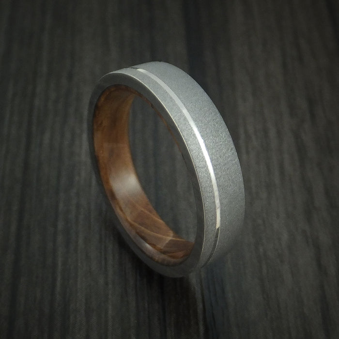 Titanium Ring with Platinum Inlay and Jack Daniels Barrel Wood Sleeve Made to Any Sizing and Finish