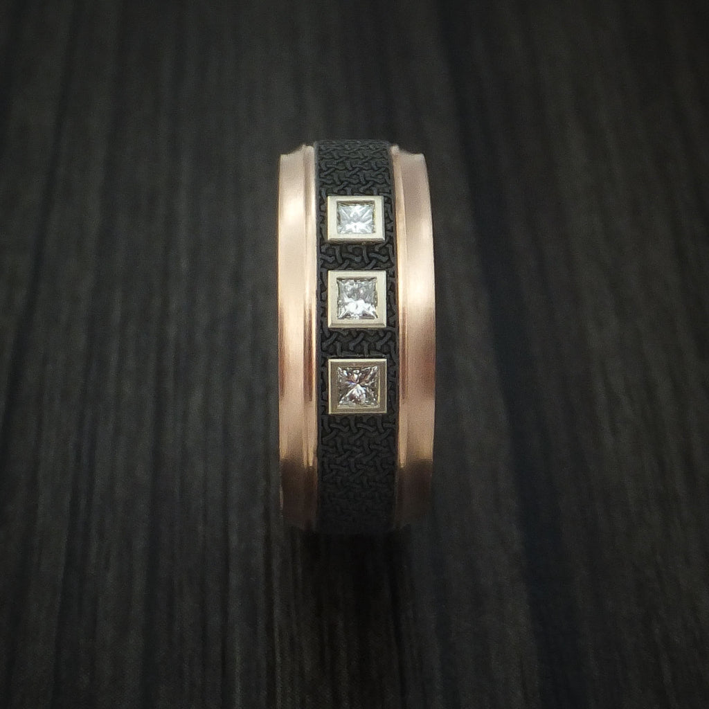 14K Rose Gold with Carbon Fiber and Diamonds Custom Made Band