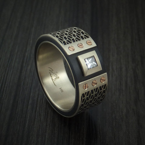 14K White Gold with Carbon Fiber and Diamond Custom Made Band