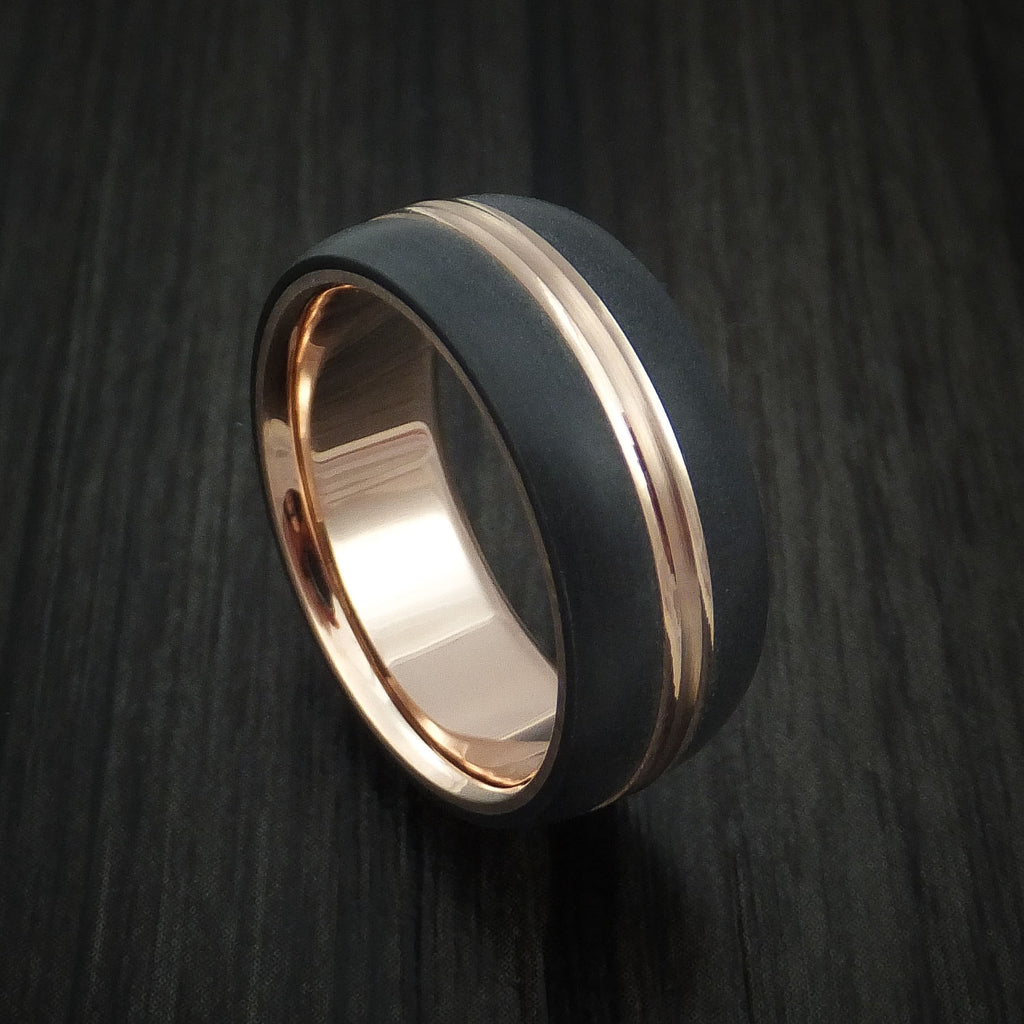 14K Rose Gold with Carbon Fiber Custom Made Band