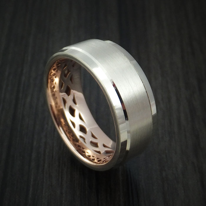 14K White Gold and Rose Gold Band Custom Made Ring