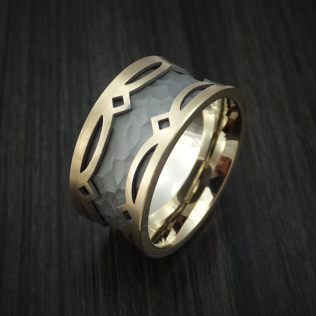 14K Rose Gold and White Gold Textured Band Custom Made Ring