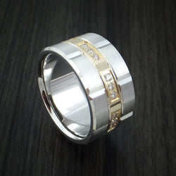 14K White Gold and Yellow Gold Band with Diamonds Custom Made Ring