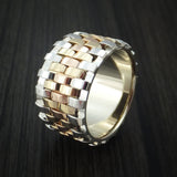 14K Yellow Gold, Rose Gold and White Gold Textured Band Custom Made Ring