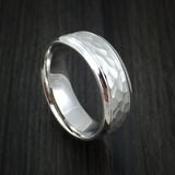 14k White Gold Hammered Band Custom Made