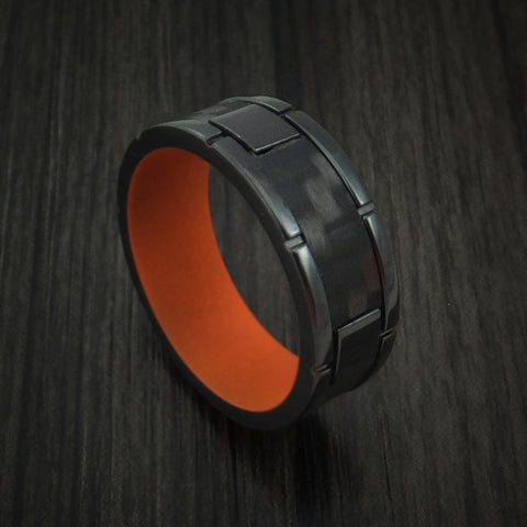 Black Zirconium and Carbon Fiber Weave Pattern Ring with CERAKOTE Interior Custom Made
