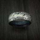Kuro Damascus Steel Ring with Silver Mokume Shakudo Inlay and Blueberry Wood Sleeve Custom Made Band