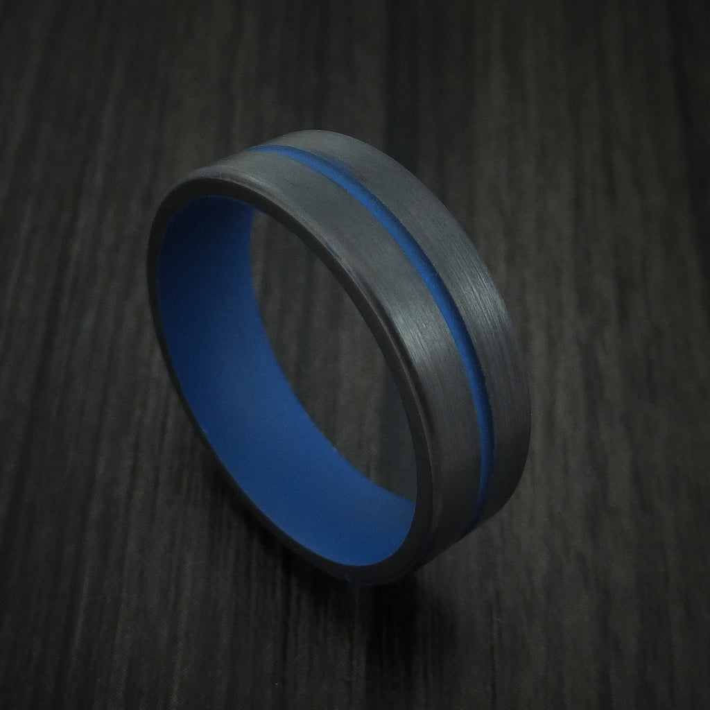 Black Zirconium and Cerakote Thin Blue Line Police Ring Custom Made Band
