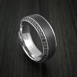 18k White Gold Ring With Elysium Black Diamond Inlay And Eternity Set Black Diamonds Custom Made Band