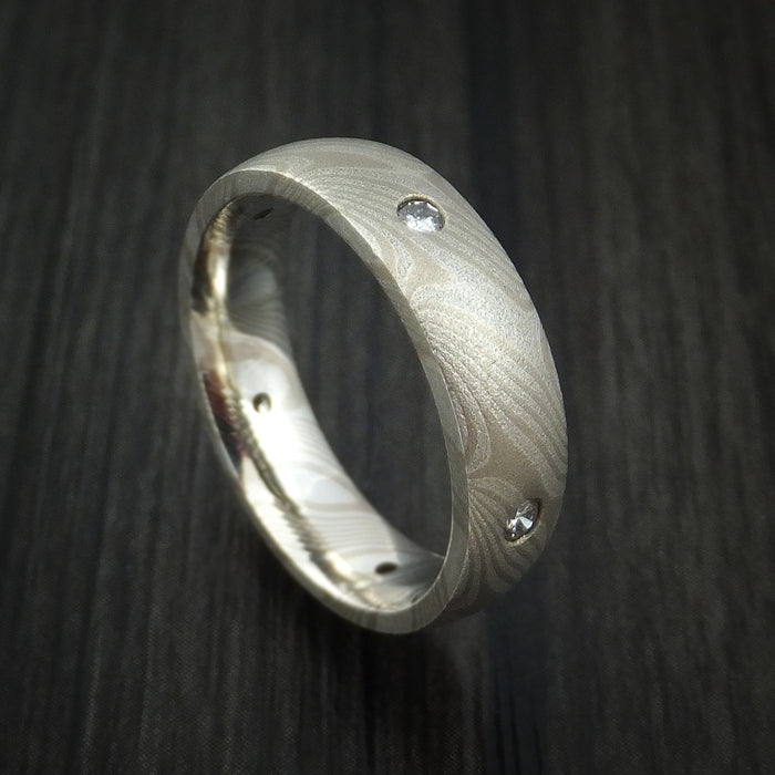 Silver and Palladium Mokume Ring with Diamonds Custom Made