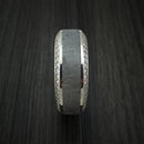 14K White Gold Ring with Meteorite Inlay and Eternity Set Diamonds Custom Made Band