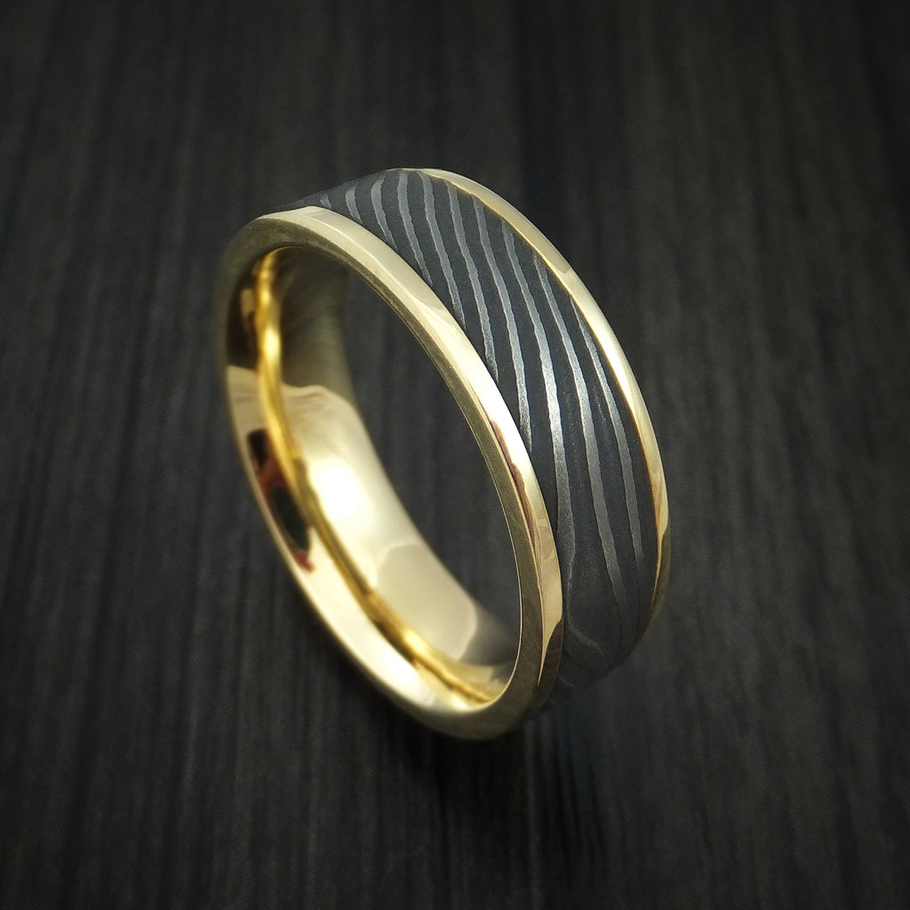 18K Yellow Gold and Flat Twist Damascus Steel Custom Made Ring