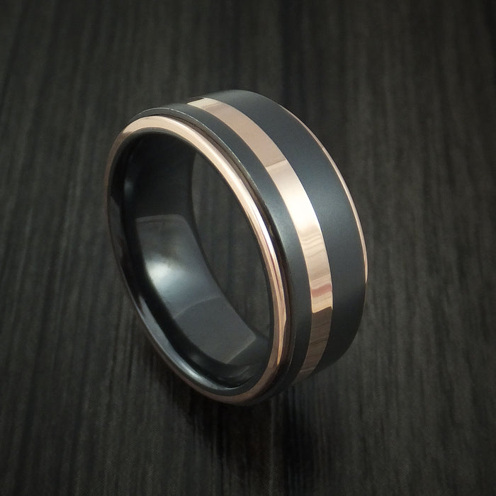 Black Zirconium Ring with 14K Rose Gold Edges and Inlay Custom Made Band