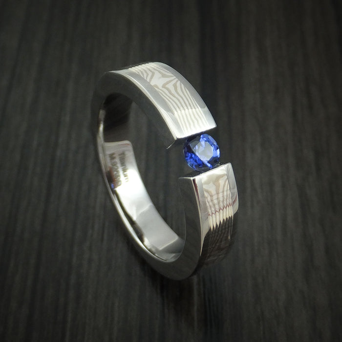 Titanium and Mokume Gane Ring with Sapphire Tension Setting Band Made to any size