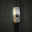 Marbled Kuro Damascus Steel and 14k Rose Gold Ring Wedding Band Custom Made