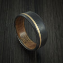 Black Zirconium Ring with 14K Yellow Gold Inlay and Hardwood Sleeve