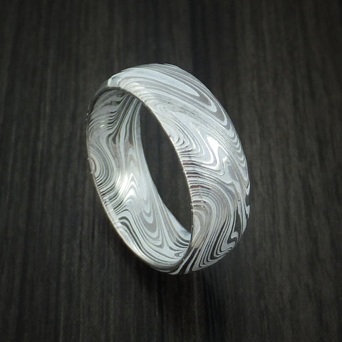 Marbled Kuro Damascus Steel and Snow White Cerakote Ring Custom Made Band