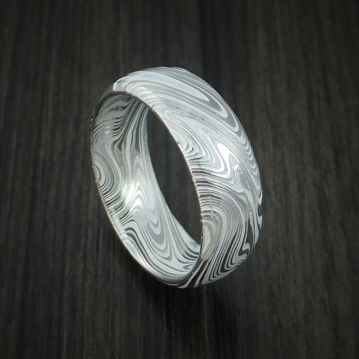 Marbled Kuro Damascus Steel and Cerakote Ring Custom Made Band