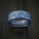 Marbled Kuro Damascus Steel and Ridgeway Blue Cerakote Ring Custom Made Band