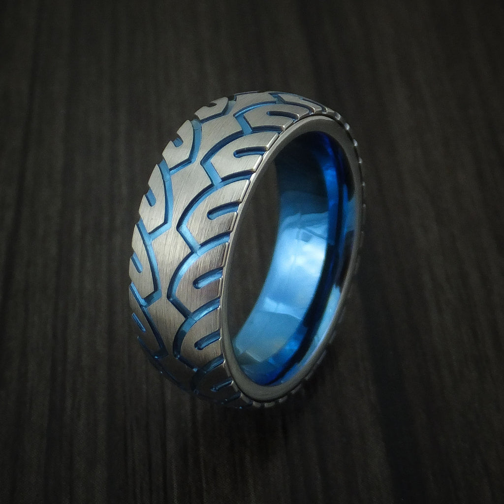 Titanium Bicycle Tire Tread Anodized Spinner Ring Custom Made Band ...