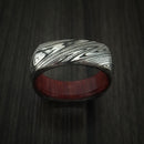 Marbled Kuro Damascus Steel Square Ring with Red Heart Hardwood Sleeve Custom Made Band