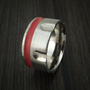 Titanium Revolver Ring with Red Cerakote Inlay and Hammered Edge Custom Made