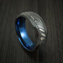 Black Zirconium and Kuro Damascus Steel Band with Anodized Interior Custom Made Ring