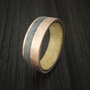 Rose Gold and Gibeon Meteorite Band with Spalted Tamarind Wood Sleeve Custom Made