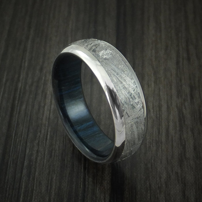 Titanium and Gibeon Meteorite Band with Blueberry Wood Sleeve Custom Made Band