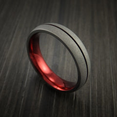 Titanium Band Custom Red Metalic Anodized Color Design Ring Any Size Band - Revolution Jewelry  - 1